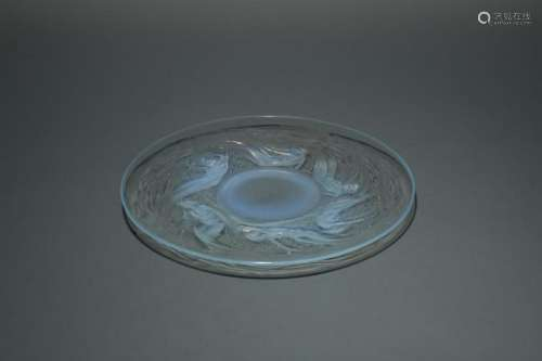 Ondines, an R. Lalique opalescent glass plate,