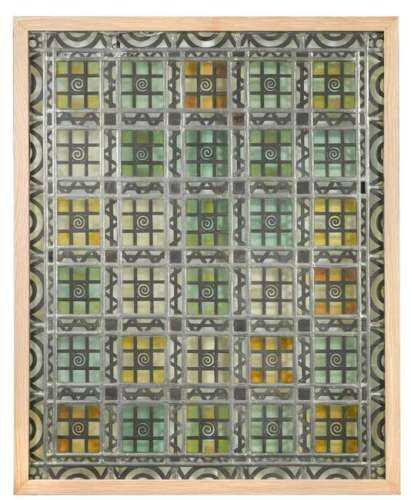 Two pairs of 1920's Continental stained glass panels,