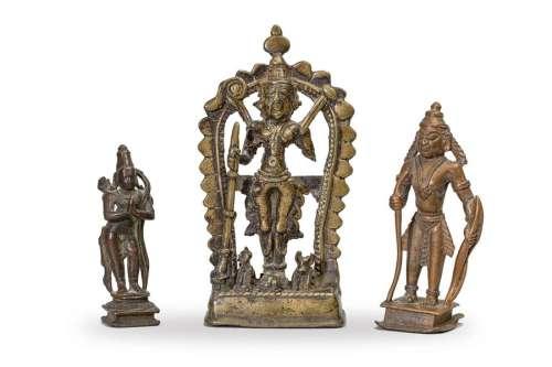 TROIS STATUETTES en bronze. \nInde XVIIIe XIXe sièc…