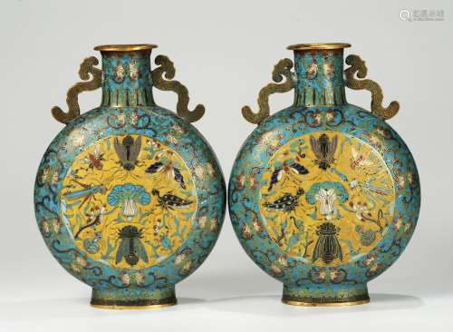 CHINESE CLOISONNE MOON FLASK VASES, PAIR
