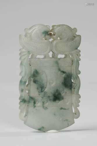 CHINESE JADEITE AXE PENDANT, QING DYNASTY