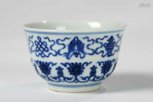CHINESE BLUE WHITE PORCELAIN CUP WITH MARK