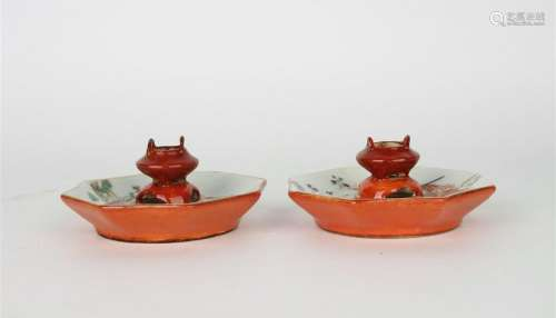 CHINESE FAMILLE ROSE PORCELAIN CANDLE STAND, PAIR
