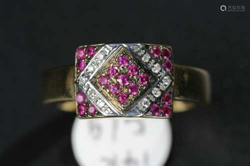 RUBY AND DIAMOND ON GOLD RING