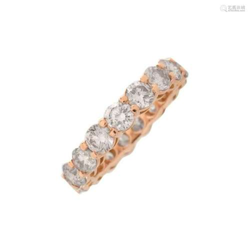 Pink Diamond and 18K Eternity Band
