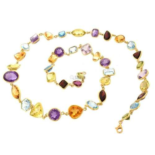 Multi Gemstone and 18K Necklace