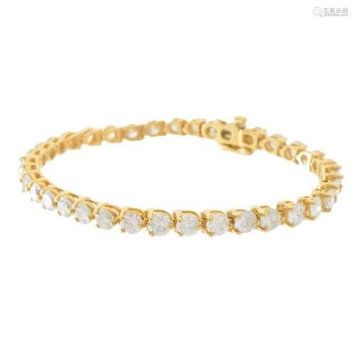 Diamond and 14K Line Bracelet