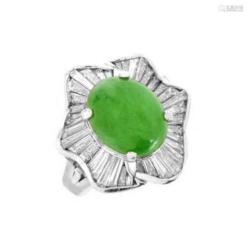 Jade, Diamond and Platinum Ring