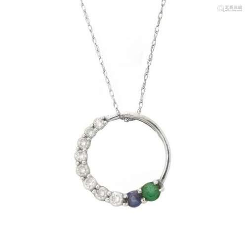 Diamond, Gemstone and 14K Pendant Necklace