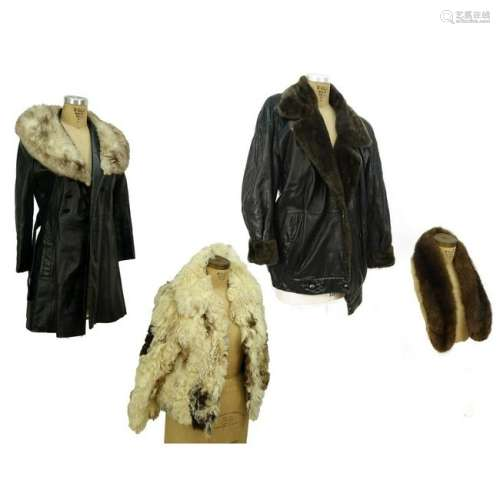 Four Pcs 3 Fur and Leather Coats 1 Mink Scarf