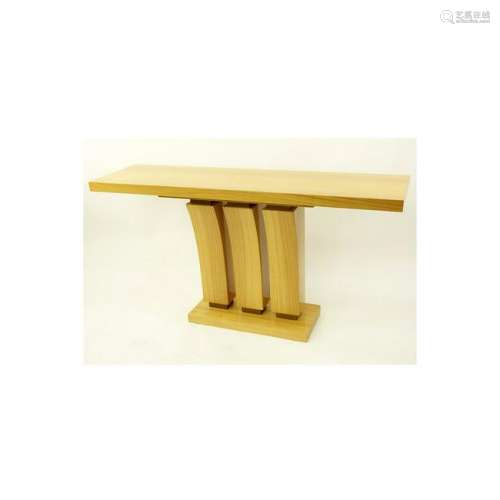 Modern Art Deco Style Satinwood Console Table