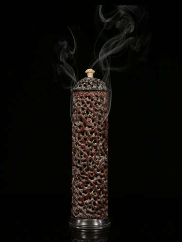 BAMBOO HOLLOW CARVING INCENSER TUBE