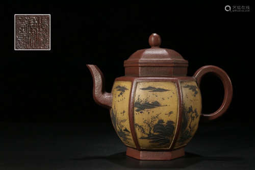 WINDOW PAINTING SIX EDGE ZISHA TEAPOT