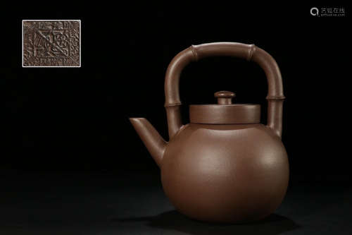 HANDLED ZISHA TEAPOT WITH MARK