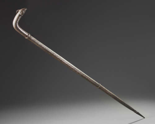 A Mughal bidri walking stick with hidden dagger