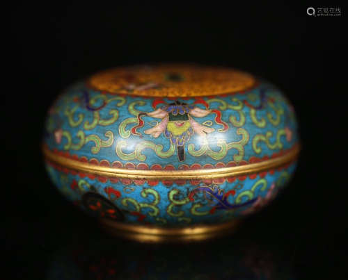 CHINESE CLOISONNE FLOWER LIDDED ROUND BOX