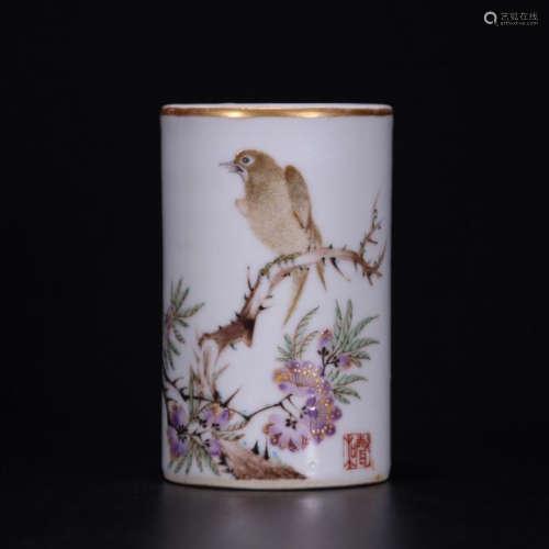 CHINESE PORCELAIN FAMILLE ROSE BIRD AND FLOWER BRUSH POT