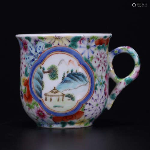 CHINESE PORCELAIN FAMILLE ROSE CUP