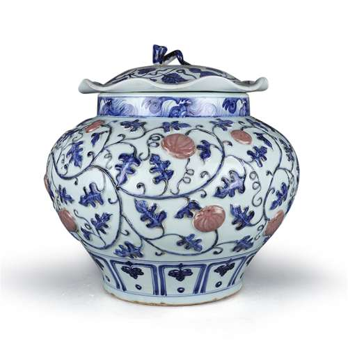 A Chinese Blue and White Porcelain Jar with Cover