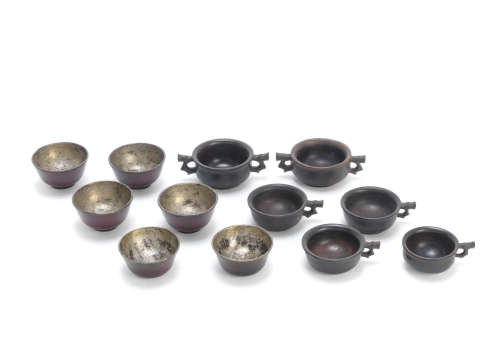 19th/20th century A group of twelve hardwood cups