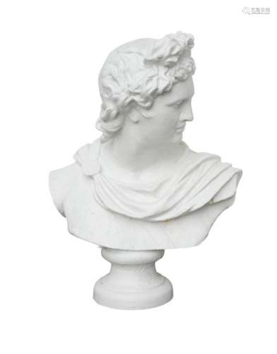 A 19TH CENTURY PAINTED CAST IRON BUST OF APOLLO, o…