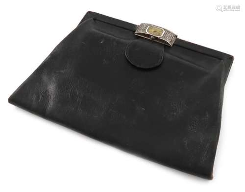 A continental silver mounted watch evening bag, ap…