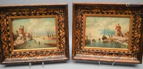 HSP. Paire de tableaux paysage Hollandais. 18x24