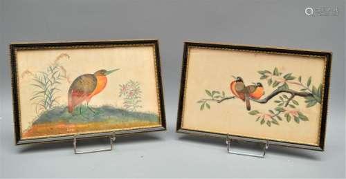 Paire de peintures sur soie représentant des oisea…