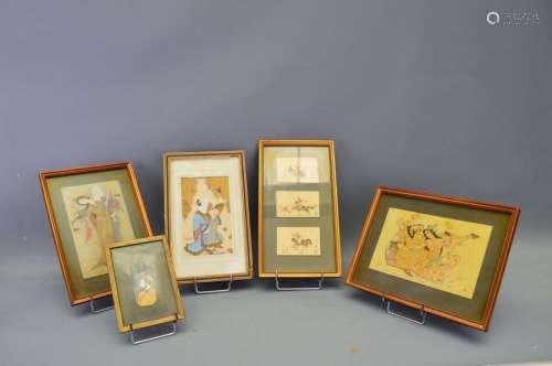 Ensemble de 5 dessins sur ivoire perse. Fin 19ème.