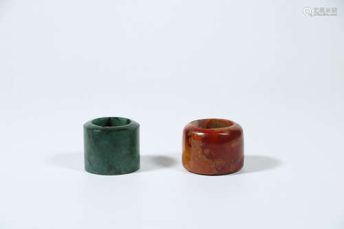 JADEITE AND RED AMBER BANZHI IN PAIR