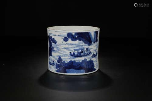 KANGXI MARK BLUE WHITE SHANSHUI PEN HOLDER