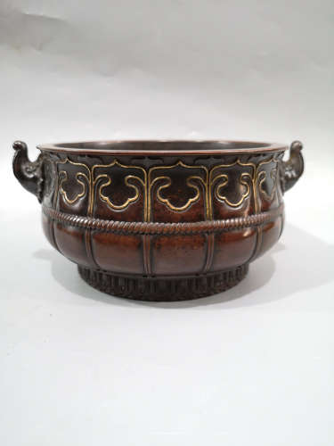 PURPLE BRONZE PUMPKIN PATTERN CENSER