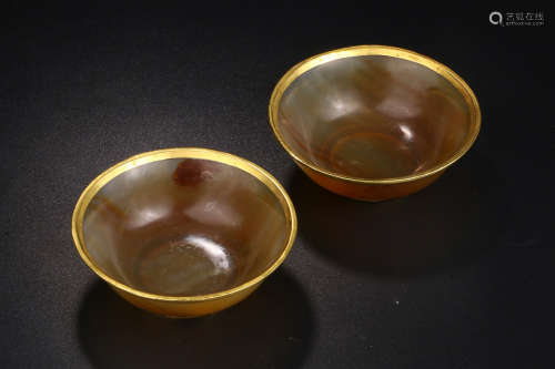 AMBER WITH GOLD BOWL IN PAIR