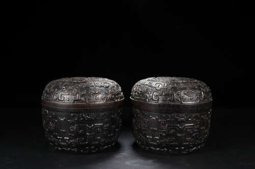 ZITAN WOOD WEI-QI CAN IN PAIR