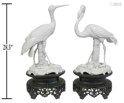 Pair Blanc De Chine Birds Wood Bases Vienna Marks