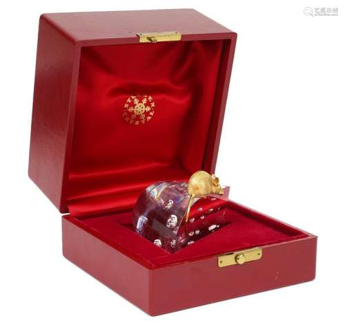 Steuben Crystal Cheese w/ 18K Mouse & Box