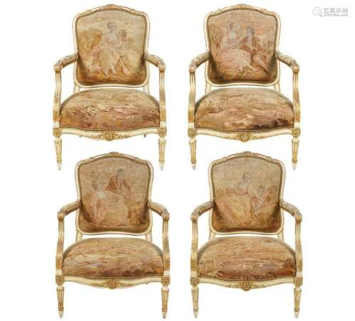 4 Large Louis XVI Style Late 19th C Fauteuil Arm Chairs