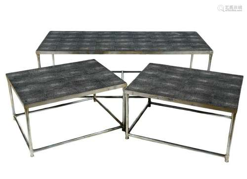 3 Faux Charcoal Shargreen & Steel Tables