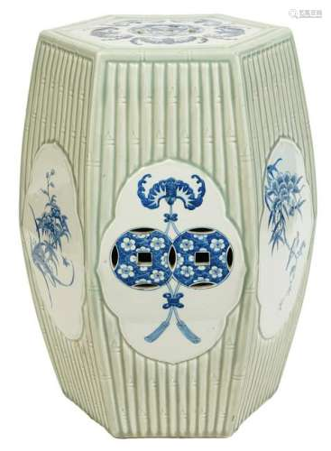 Chinese Porcelain Faux Bamboo Garden Seat
