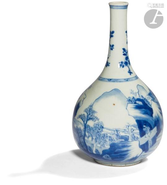 CHINE - XVIIe siècle Vase bouteille en porcelaine bleu blanc à décor d'une rivière entourée de