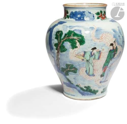 CHINE - XVIIe siècle Potiche balustre à col droit légèrement ouvert en porcelaine émaillée
