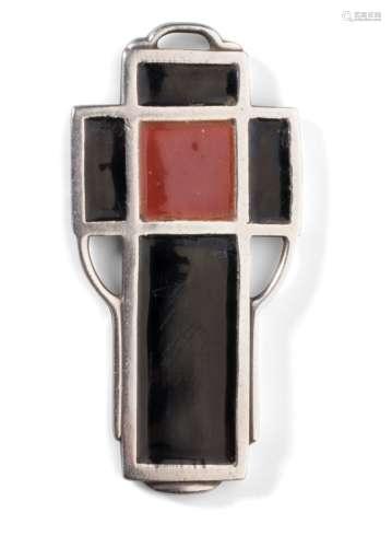 CHRISTIAN FJERDINGSTAD (1891-1968) Évocation cruciforme Pendentif. Argent et émail. Poids brut :