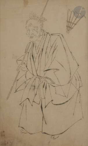 Attribué à Hanabusa ITCHO (1652 - 1724) Jo debout avec un râteau et Okame à cheval Deux dessins à