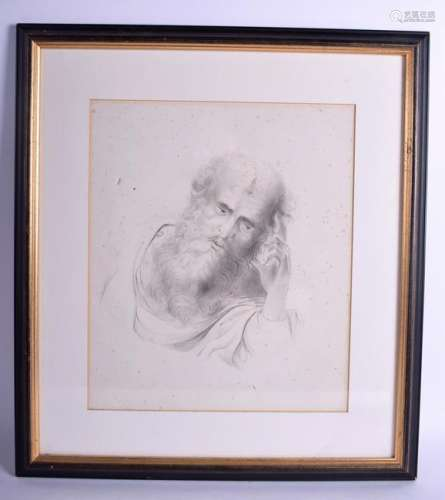 AN 18TH CENTURY FRAMED PENCIL SKETCH OF A PENSIVE