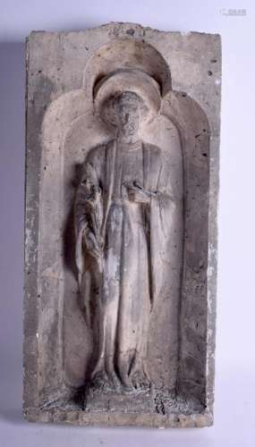 A LARGE 18TH CENTURY FRENCH CARVED TERRACOTTA RELIGIOUS