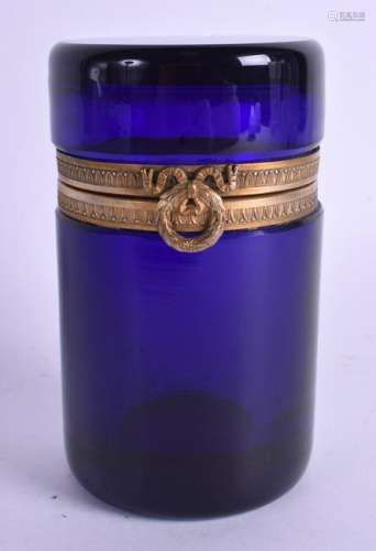 AN EARLY 19TH CENTURY BRISTOL BLUE GLASS JAR with