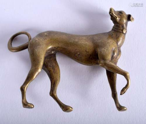 A CONITINENTAL BRONZE GREYHOUND. 7 cm x 5 cm.