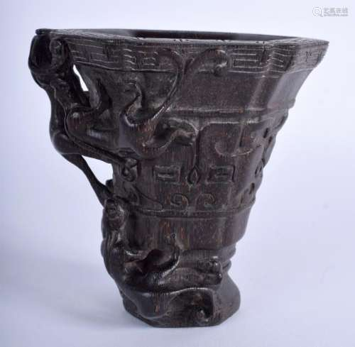 A CHINESE LIBATION CUP possibly Buffalo horn. 9.5 cm x
