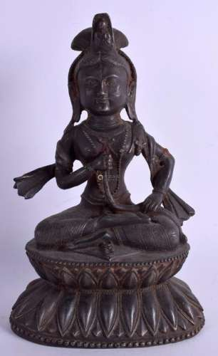 A LARGE ANTIQUE INDIAN TIBETAN CAST IRON HINDU FIGURE