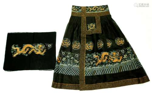 Chinese Qing Imperial Man's Chaofu Pleated Skirt